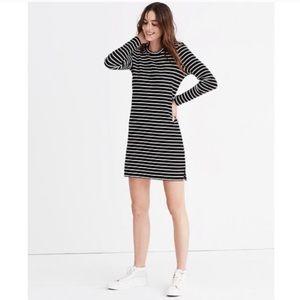 Madewell Striped Keyhole Long Sleeve Dress